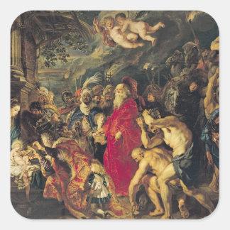 Adoración de unos de los reyes magos, 1610 pegatina cuadrada
