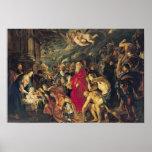Adoración de unos de los reyes magos, 1610 póster