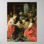 Adoración de unos de los reyes magos, 1626-29 póster