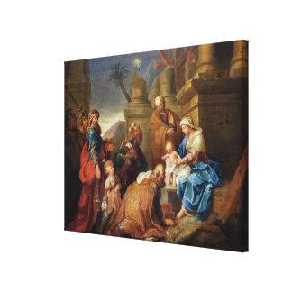 Adoración de unos de los reyes magos 3 impresiones en lienzo estiradas