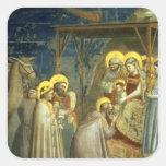 Adoración de unos de los reyes magos, c.1305 pegatina cuadrada