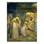 Adoración de unos de los reyes magos, c.1305 postal