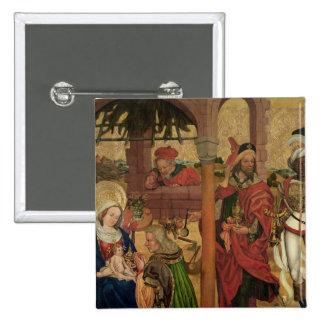 Adoración de unos de los reyes magos, c.1475 pin cuadrado