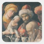 Adoración de unos de los reyes magos, c.1495-1505 calcomanía cuadrada personalizada