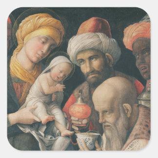 Adoración de unos de los reyes magos, c.1495-1505 pegatina cuadrada
