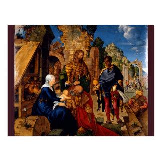 Adoración de unos de los reyes magos de Albrecht D Tarjeta Postal