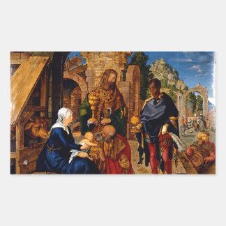 Adoración de unos de los reyes magos de Albrecht Rectangular Pegatina