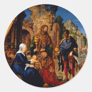Adoración de unos de los reyes magos de Albrecht Pegatinas Redondas