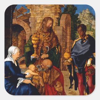 Adoración de unos de los reyes magos de Albrecht Colcomanias Cuadradases