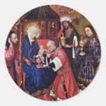 Adoración de unos de los reyes magos de Daret Pegatinas Redondas