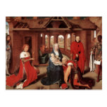 Adoración de unos de los reyes magos de Hans Memli Tarjeta Postal