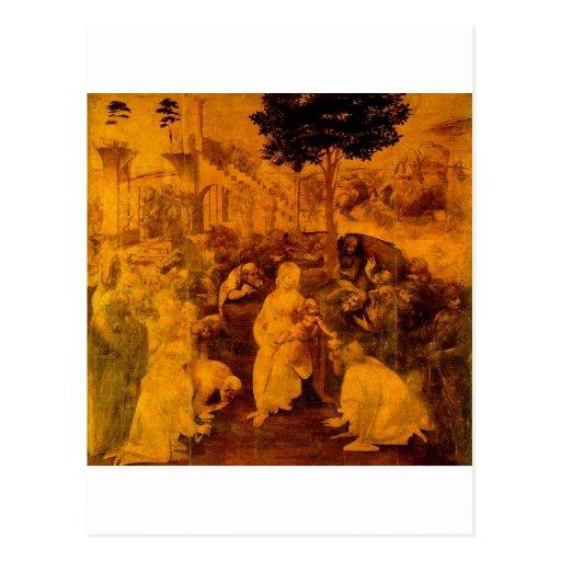 Adoración de unos de los reyes magos de Leonardo d Postales
