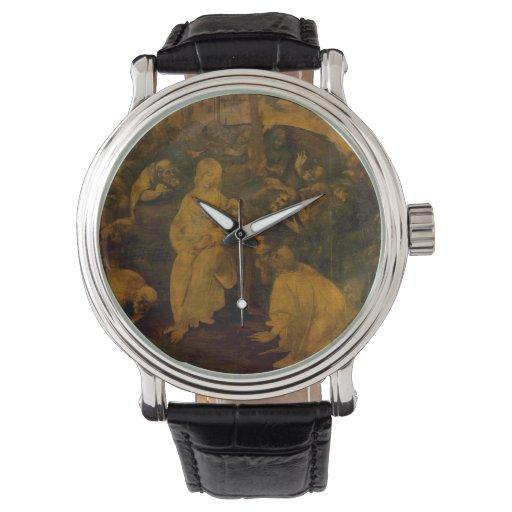 Adoración de unos de los reyes magos de Leonardo Relojes De Pulsera