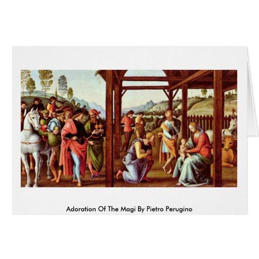 Adoración de unos de los reyes magos de Pedro Peru Tarjeta De Felicitación