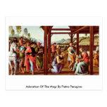 Adoración de unos de los reyes magos de Pedro Peru Postal