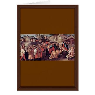 Adoración de unos de los reyes magos de Pontormo J Tarjeta De Felicitación