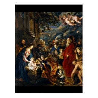 Adoración de unos de los reyes magos de Rubens Postal