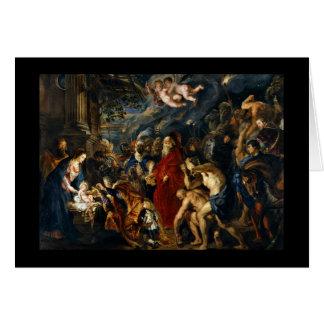 Adoración de unos de los reyes magos de Rubens Tarjeta De Felicitación