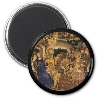 Adoración de unos de los reyes magos del siglo XIV Imán Redondo 5 Cm