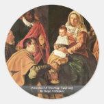 Adoración de unos de los reyes magos (epifanía) pegatinas redondas