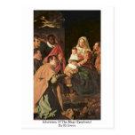 Adoración de unos de los reyes magos (epifanía) po tarjetas postales