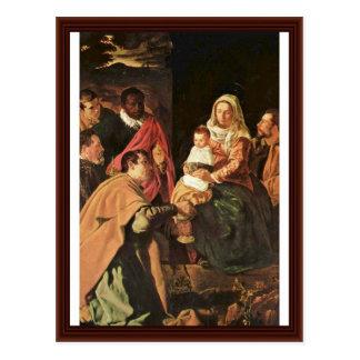 Adoración de unos de los reyes magos (epifanía) tarjeta postal