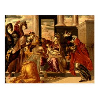 Adoración de unos de los reyes magos - Greco Tarjetas Postales
