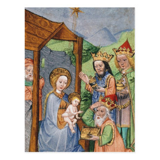 Adoración de unos de los reyes magos tarjeta postal
