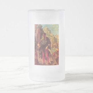 Adoración de unos de los reyes magos taza de cristal