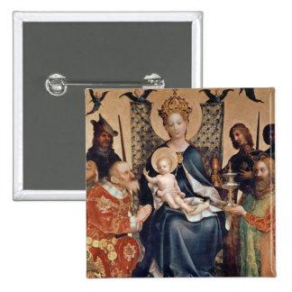 Adoración del altarpiece de unos de los reyes mago pin cuadrada 5 cm