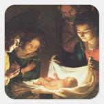 Adoración del bebé, c.1620 pegatina cuadrada