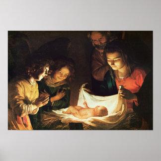 Adoración del bebé, c.1620 póster