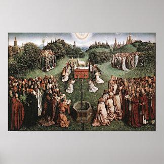 Adoración del cordero Jan van Eyck 1429 Póster