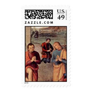 Adoración del detalle de los pastores por Perugino Sello