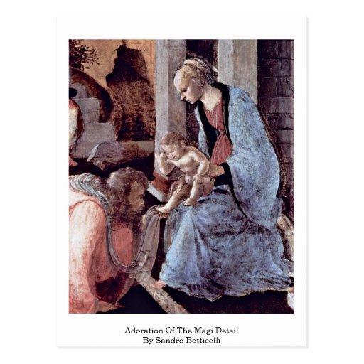 Adoración del detalle de unos de los reyes magos d tarjetas postales