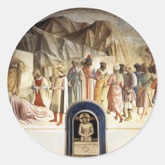 Adoración del Fra Angelico- de unos de los reyes m Pegatinas Redondas