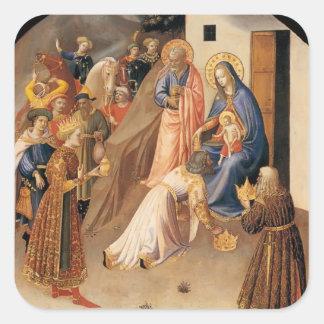 Adoración del Fra Angelico- de unos de los reyes Pegatina Cuadrada