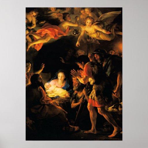 Adoración del poster de la natividad de los pastor