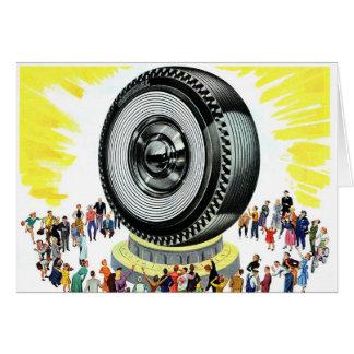 Adoración gigante del neumático del vintage del tarjeta de felicitación