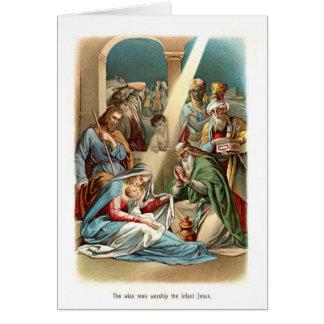 Adoración Jesús de los hombres sabios Tarjeton