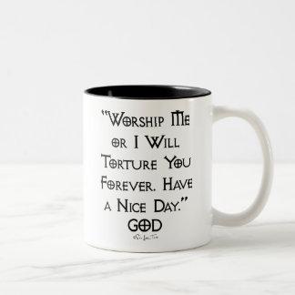 Adoración o tortura taza de café de dos colores