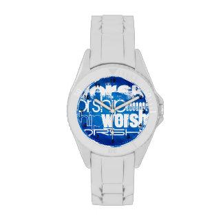 Adoración; Rayas azules reales Reloj De Mano