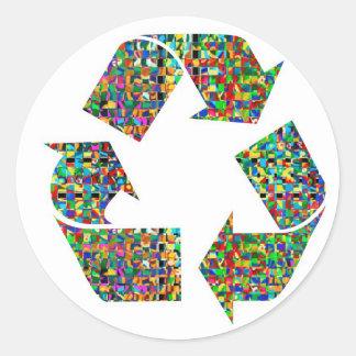 Adoramos reciclamos a campeones etiqueta redonda
