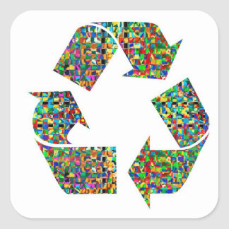 Adoramos reciclamos el ambiente verde del campeón pegatinas cuadradases personalizadas