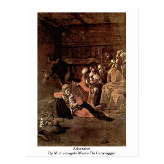 Adoration By Michelangelo Merisi Da Caravaggio Postcard