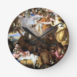 Adoration Jesus Mary Joseph Shepherds -Castiglione Round Clock