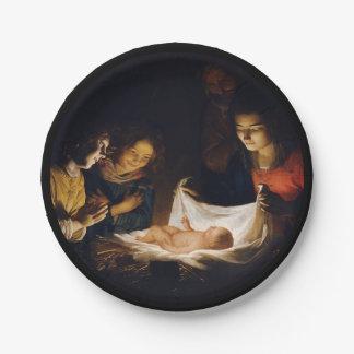 Adoration of Child Adorazion del Bambino Paper Plate