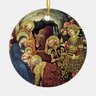 Adoration of  Magi (c1370-1427) Magi in Adoration Double-Sided Ceramic Round Christmas Ornament