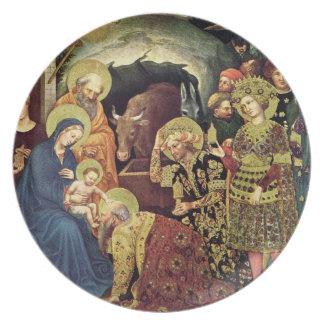 Adoration of  Magi (c1370-1427) Magi in Adoration Melamine Plate