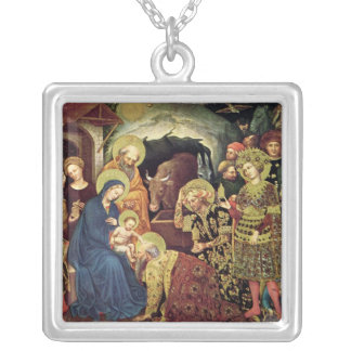 Adoration of  Magi (c1370-1427) Magi in Adoration Silver Plated Necklace